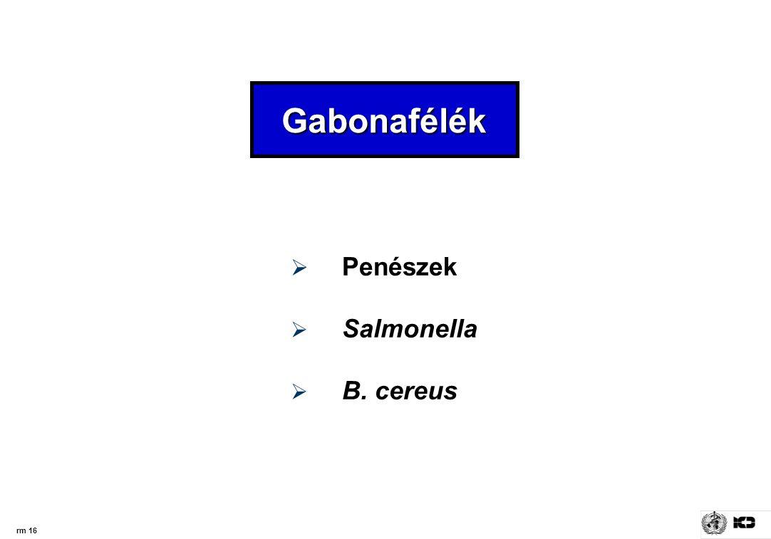Gabonafélék Penészek Salmonella B. cereus