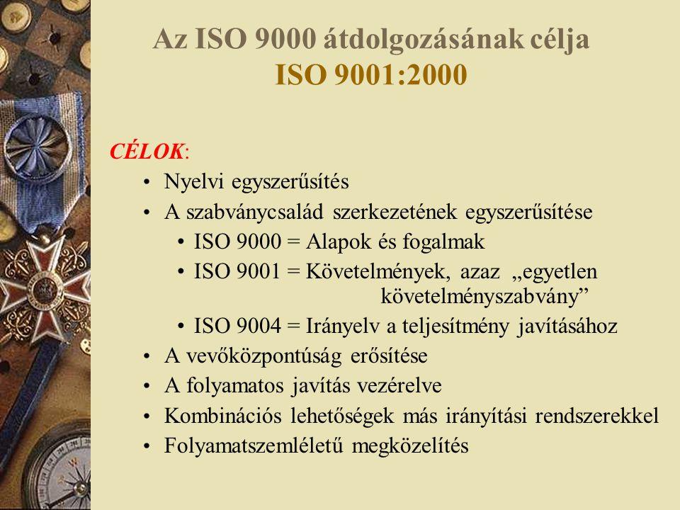 Az ISO 9000 átdolgozásának célja ISO 9001:2000