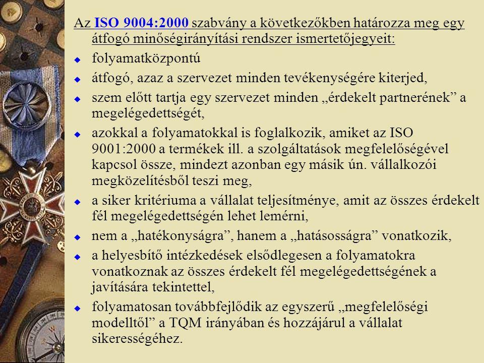Az ISO 9004:2000 szabvány a következőkben határozza meg egy átfogó minőségirányítási rendszer ismertetőjegyeit: