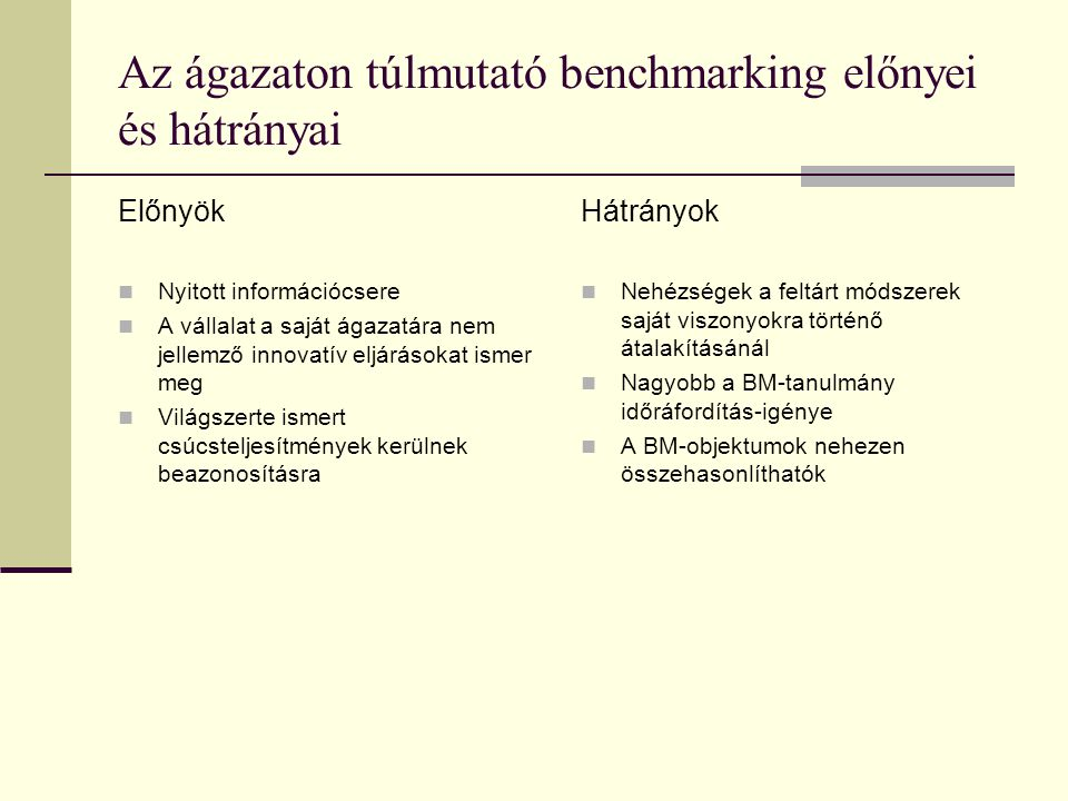 Az ágazaton túlmutató benchmarking előnyei és hátrányai