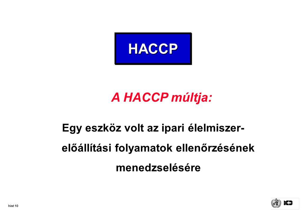 HACCP A HACCP múltja: Egy eszköz volt az ipari élelmiszer-előállítási folyamatok ellenőrzésének menedzselésére.