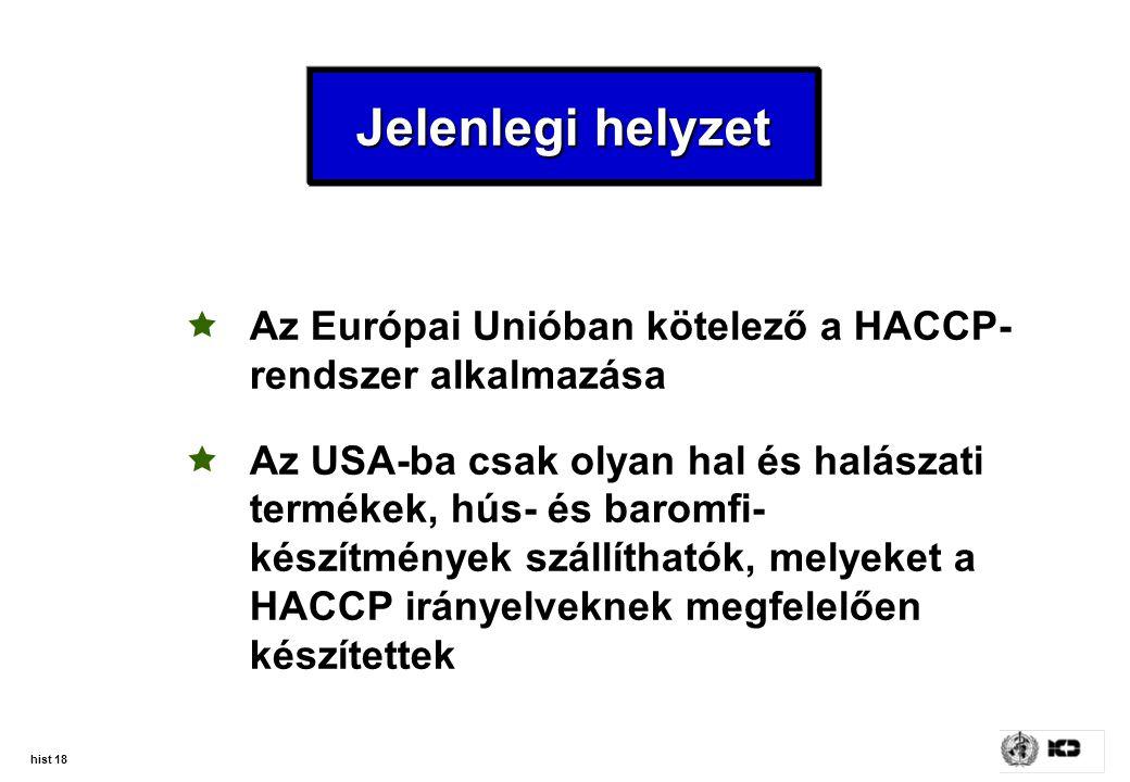 Jelenlegi helyzet Az Európai Unióban kötelező a HACCP-rendszer alkalmazása.