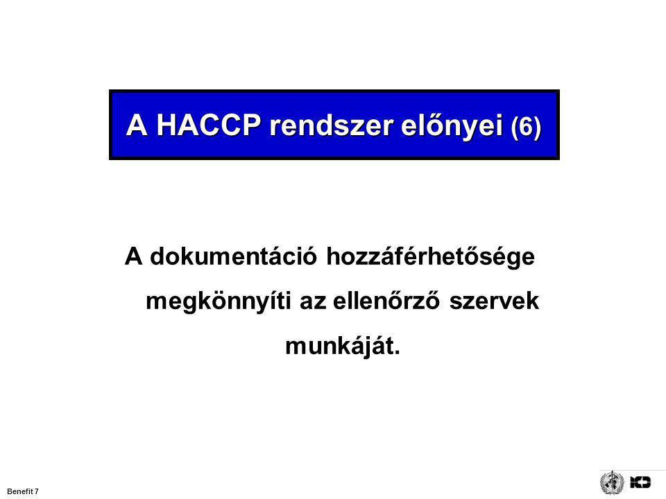 A HACCP rendszer előnyei (6)