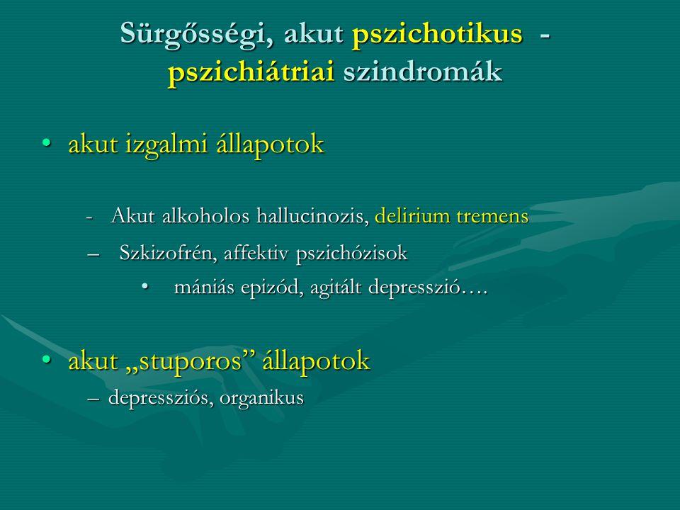 Sürgősségi, akut pszichotikus - pszichiátriai szindromák
