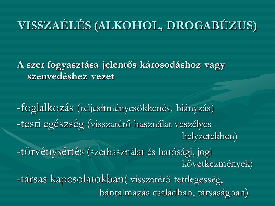 VISSZAÉLÉS (ALKOHOL, DROGABÚZUS)