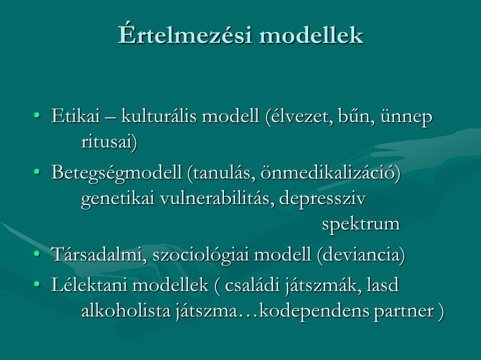 Értelmezési modellek Etikai – kulturális modell (élvezet, bűn, ünnep ritusai)