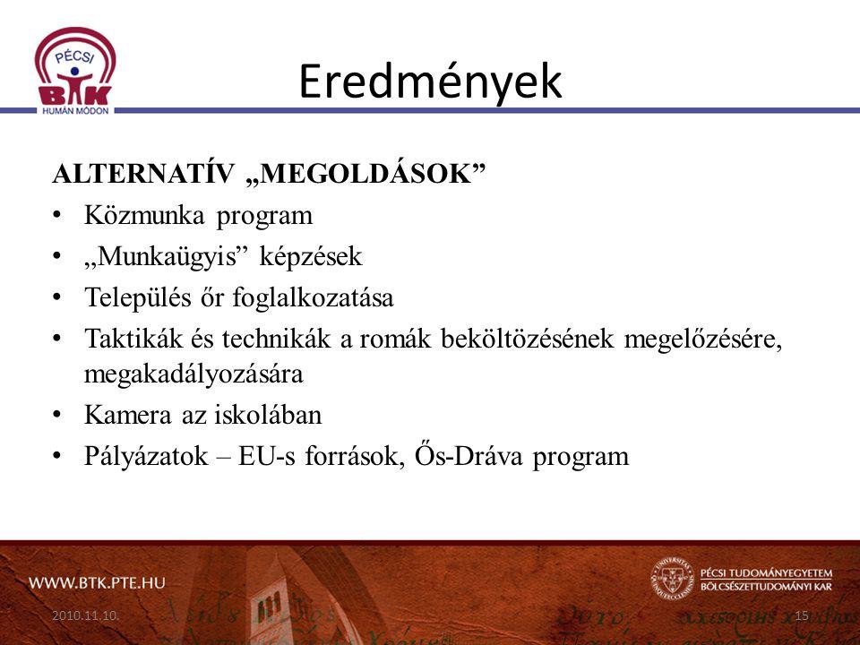 """Eredmények ALTERNATÍV """"MEGOLDÁSOK Közmunka program"""