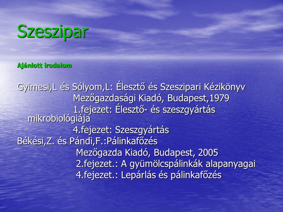 Szeszipar Gyimesi,L és Sólyom,L: Élesztő és Szeszipari Kézikönyv