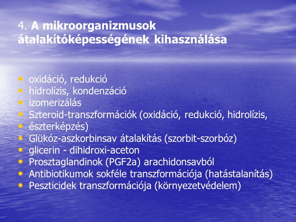4. A mikroorganizmusok átalakítóképességének kihasználása
