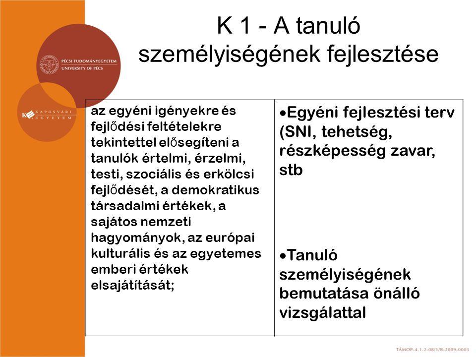 K 1 - A tanuló személyiségének fejlesztése