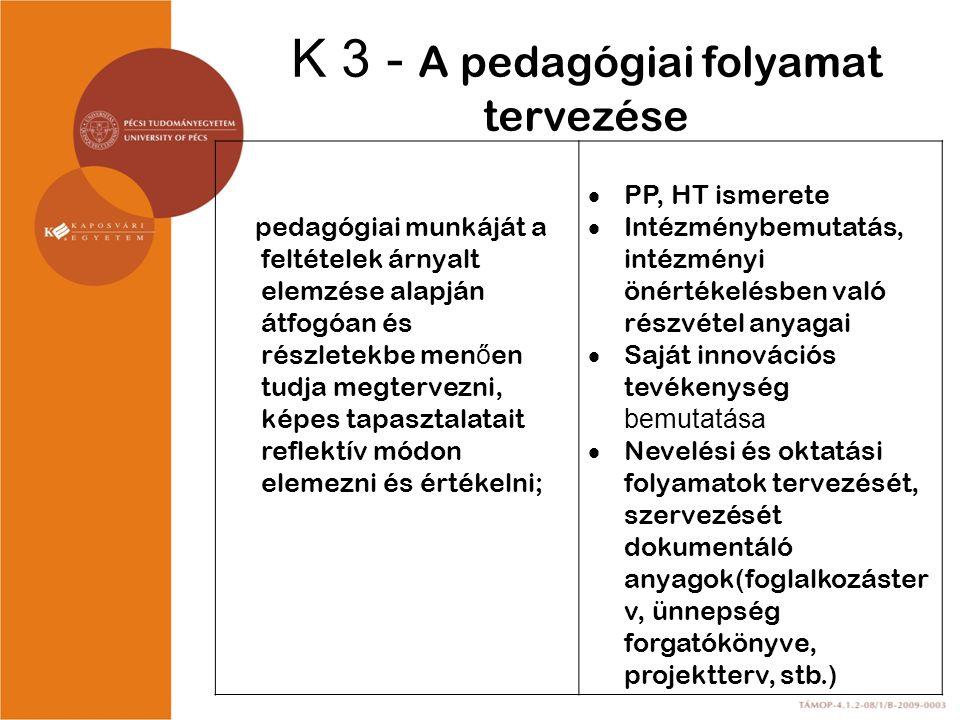 K 3 - A pedagógiai folyamat tervezése
