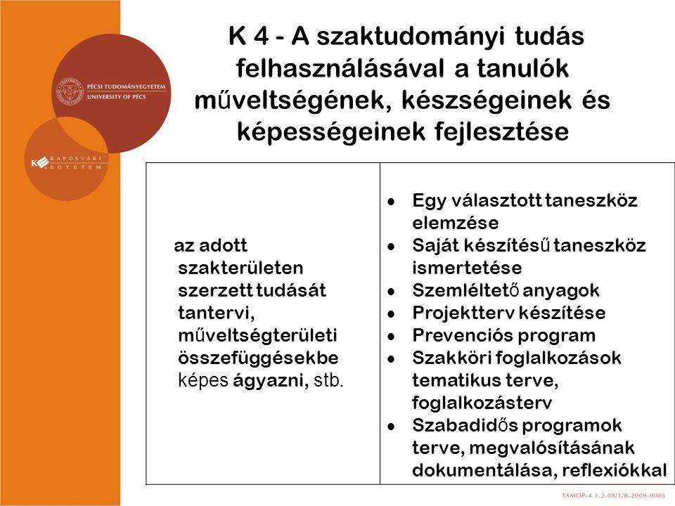K 4 - A szaktudományi tudás felhasználásával a tanulók műveltségének, készségeinek és képességeinek fejlesztése