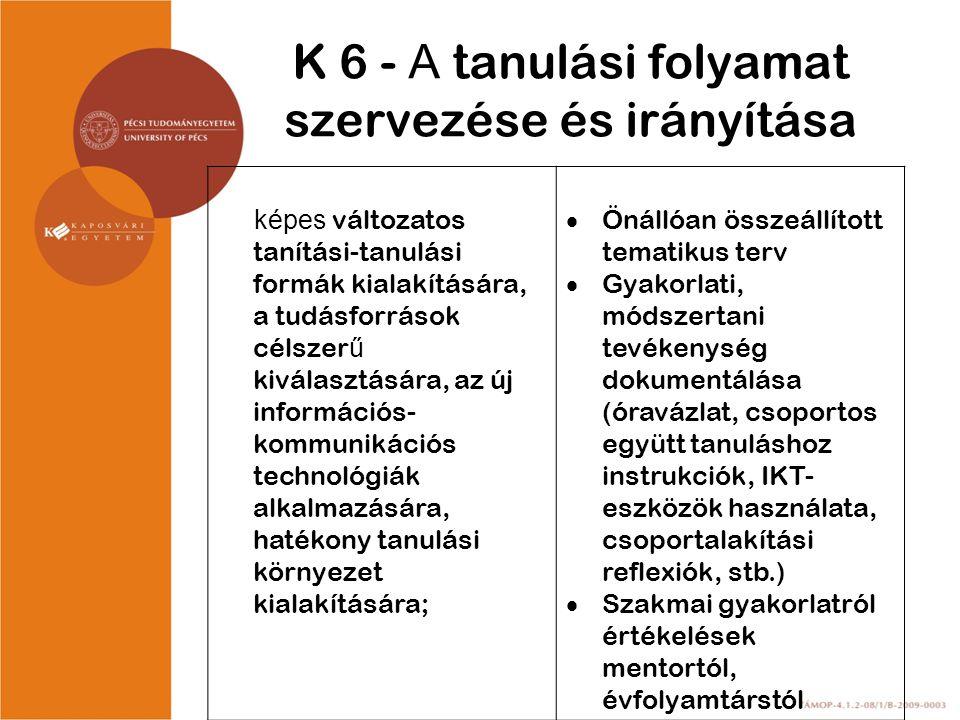 K 6 - A tanulási folyamat szervezése és irányítása