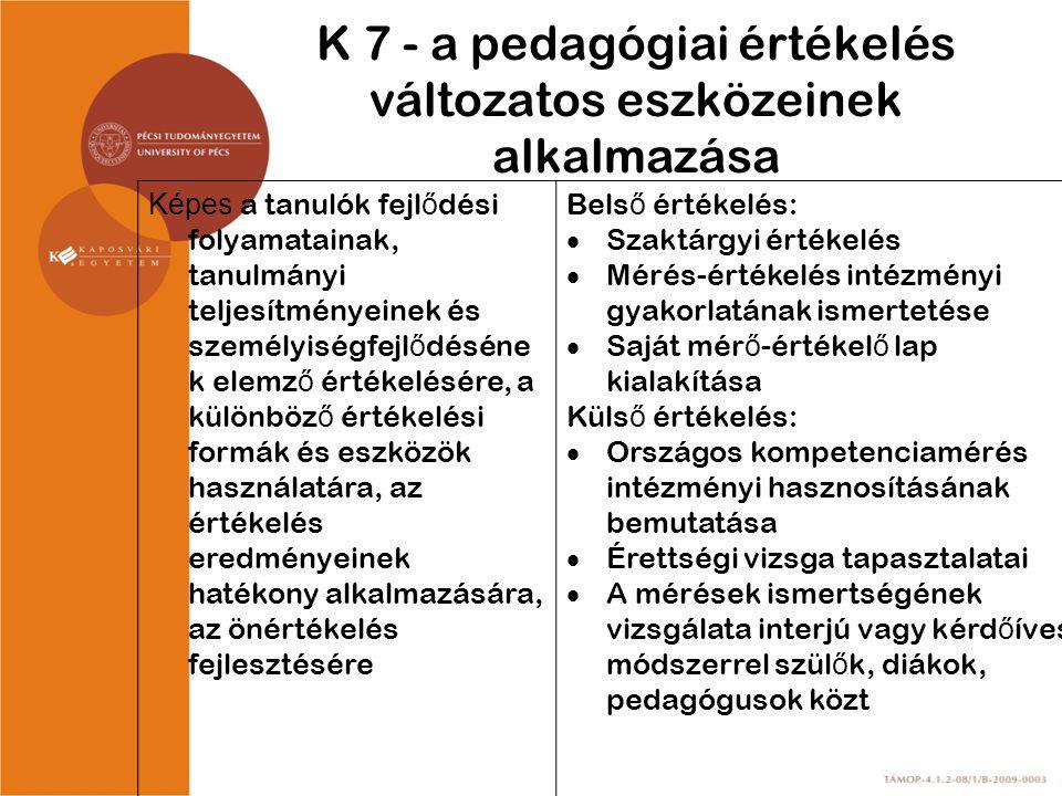 K 7 - a pedagógiai értékelés változatos eszközeinek alkalmazása