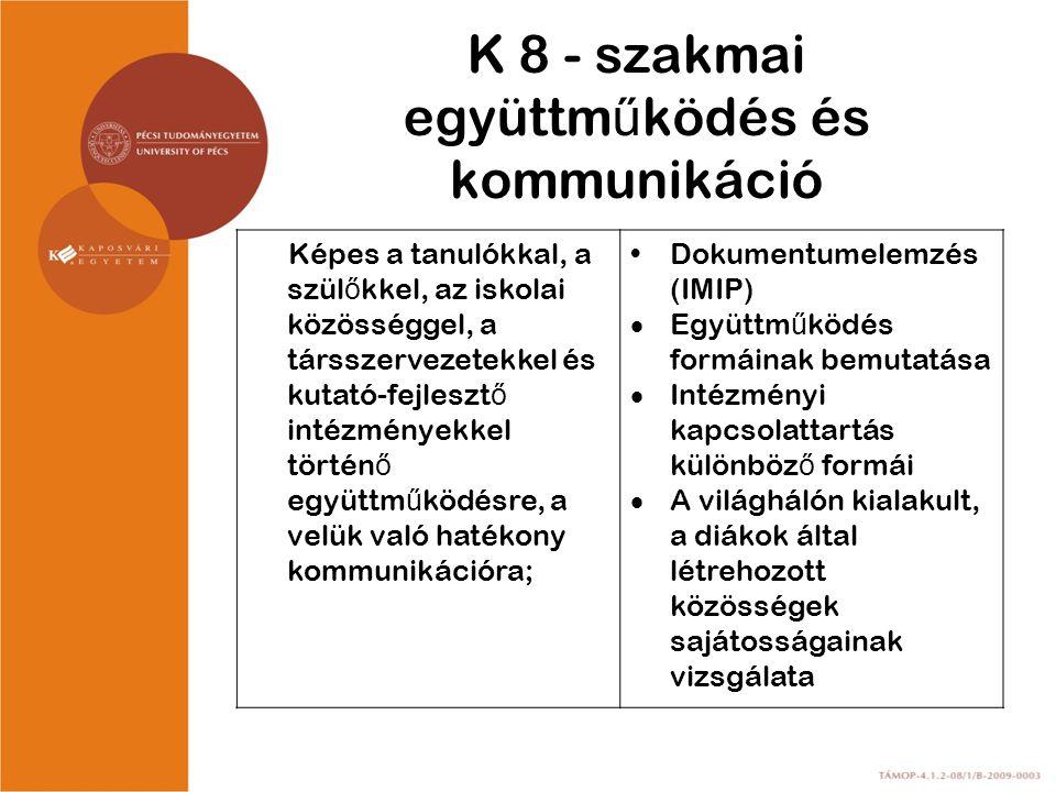 K 8 - szakmai együttműködés és kommunikáció