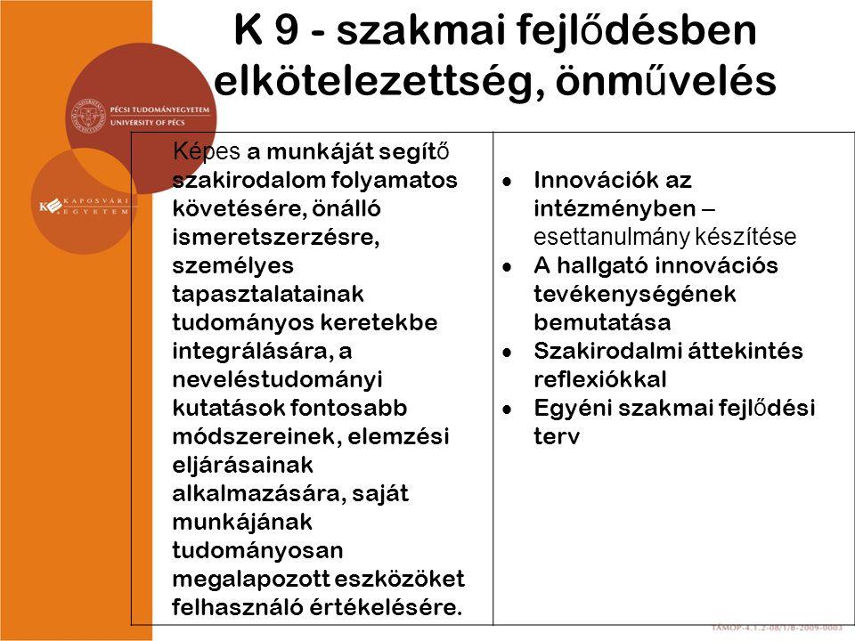 K 9 - szakmai fejlődésben elkötelezettség, önművelés