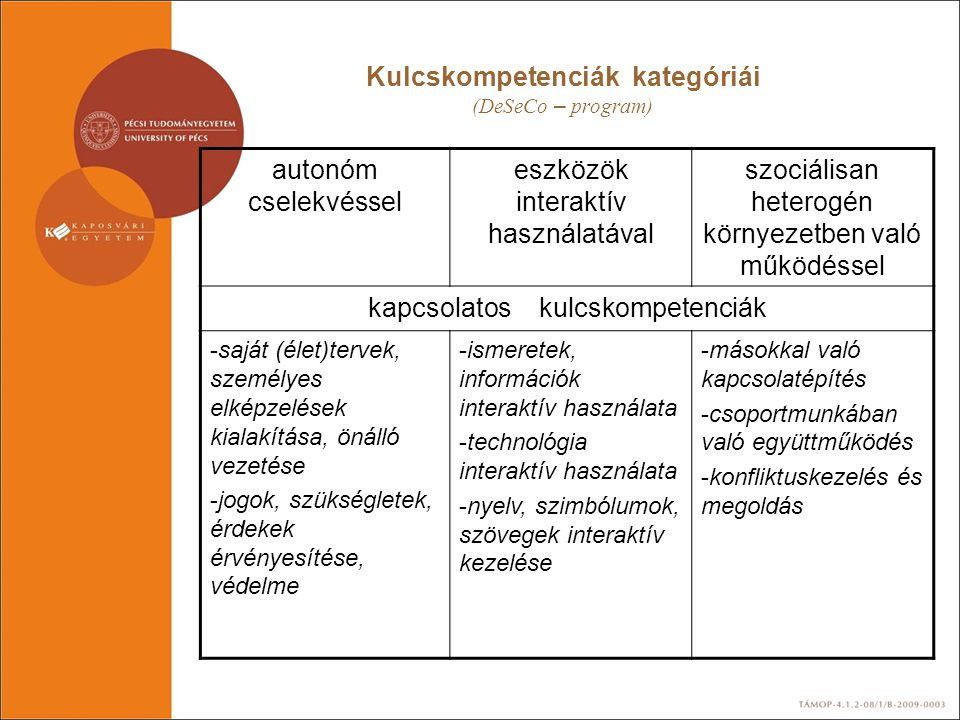 Kulcskompetenciák kategóriái (DeSeCo – program)
