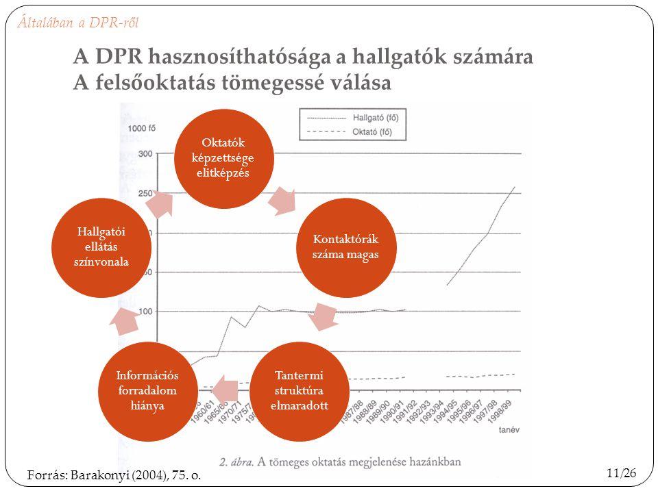 Általában a DPR-ről A DPR hasznosíthatósága a hallgatók számára A felsőoktatás tömegessé válása. Oktatók képzettsége elitképzés.
