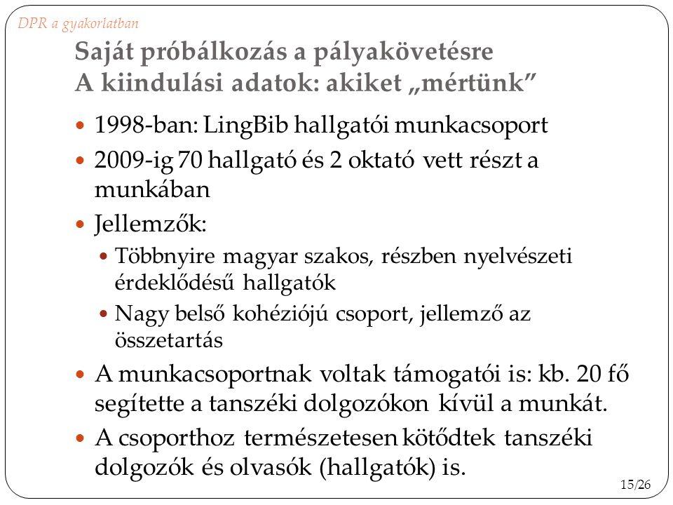 """DPR a gyakorlatban Saját próbálkozás a pályakövetésre A kiindulási adatok: akiket """"mértünk 1998-ban: LingBib hallgatói munkacsoport."""