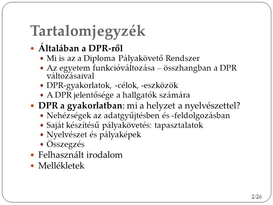 Tartalomjegyzék Általában a DPR-ről