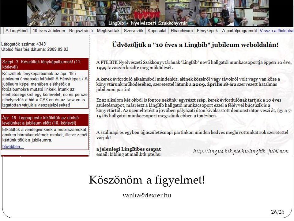 Köszönöm a figyelmet! http://www.diplomantul.hu vanita@dexter.hu