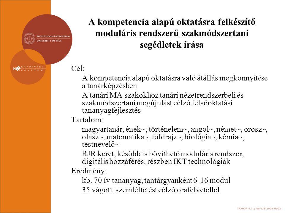 A kompetencia alapú oktatásra felkészítő moduláris rendszerű szakmódszertani segédletek írása
