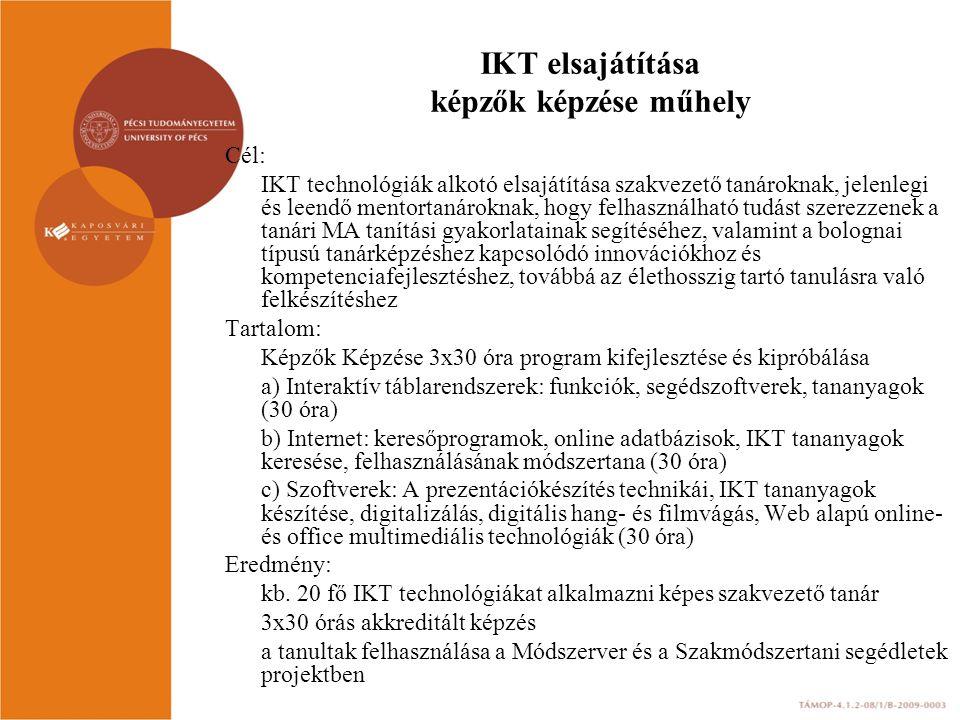 IKT elsajátítása képzők képzése műhely