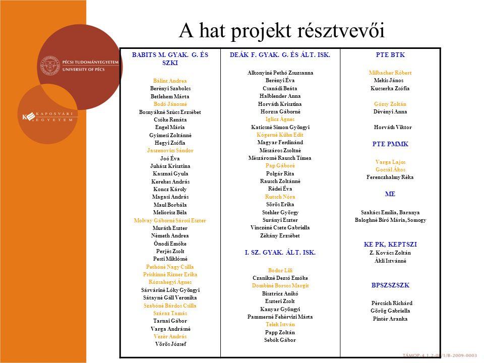 A hat projekt résztvevői