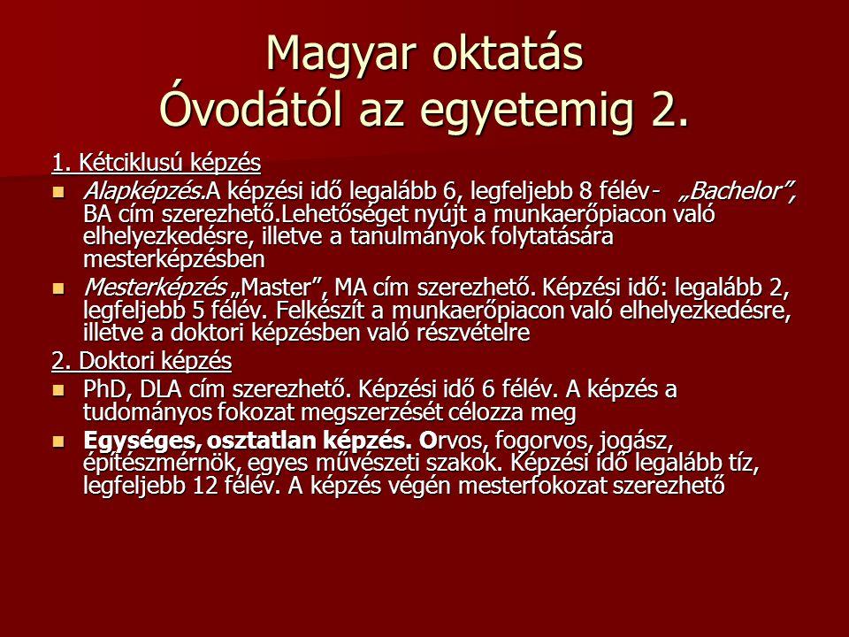 Magyar oktatás Óvodától az egyetemig 2.
