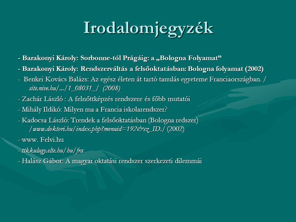 """Irodalomjegyzék - Barakonyi Károly: Sorbonne-tól Prágáig: a """"Bologna Folyamat"""