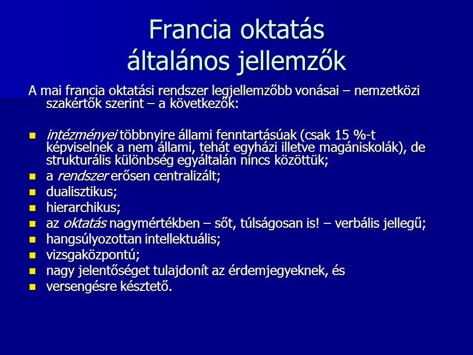 Francia oktatás általános jellemzők