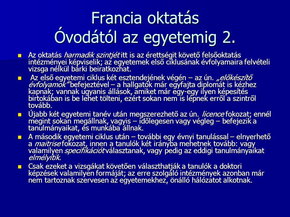 Francia oktatás Óvodától az egyetemig 2.