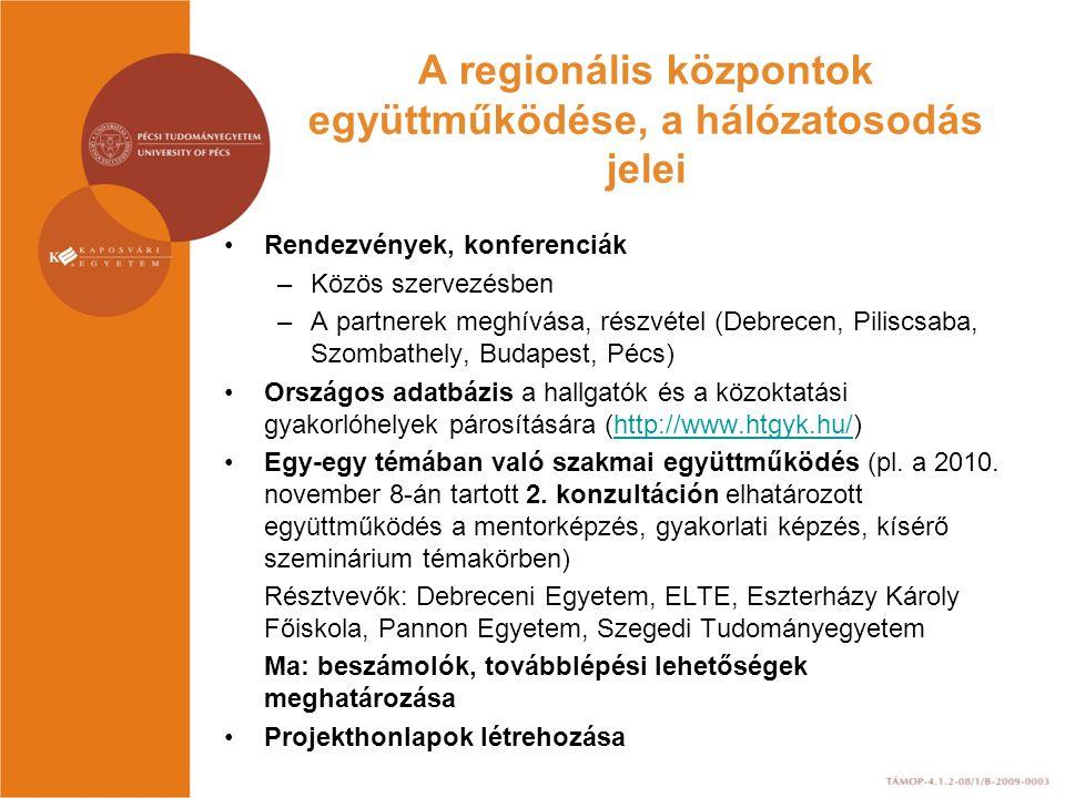 A regionális központok együttműködése, a hálózatosodás jelei