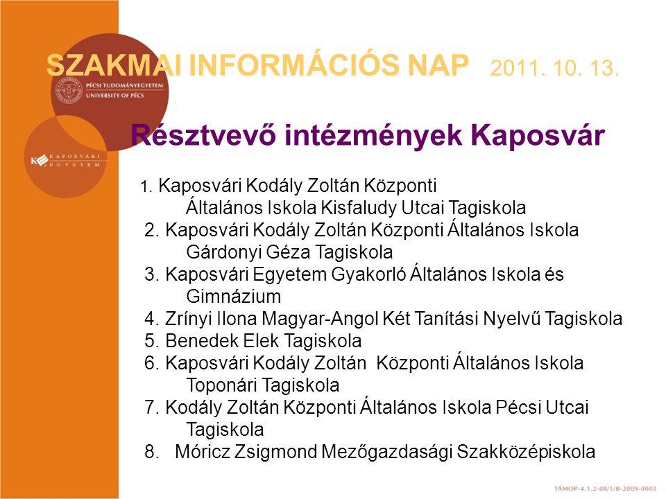 SZAKMAI INFORMÁCIÓS NAP 2011. 10. 13.