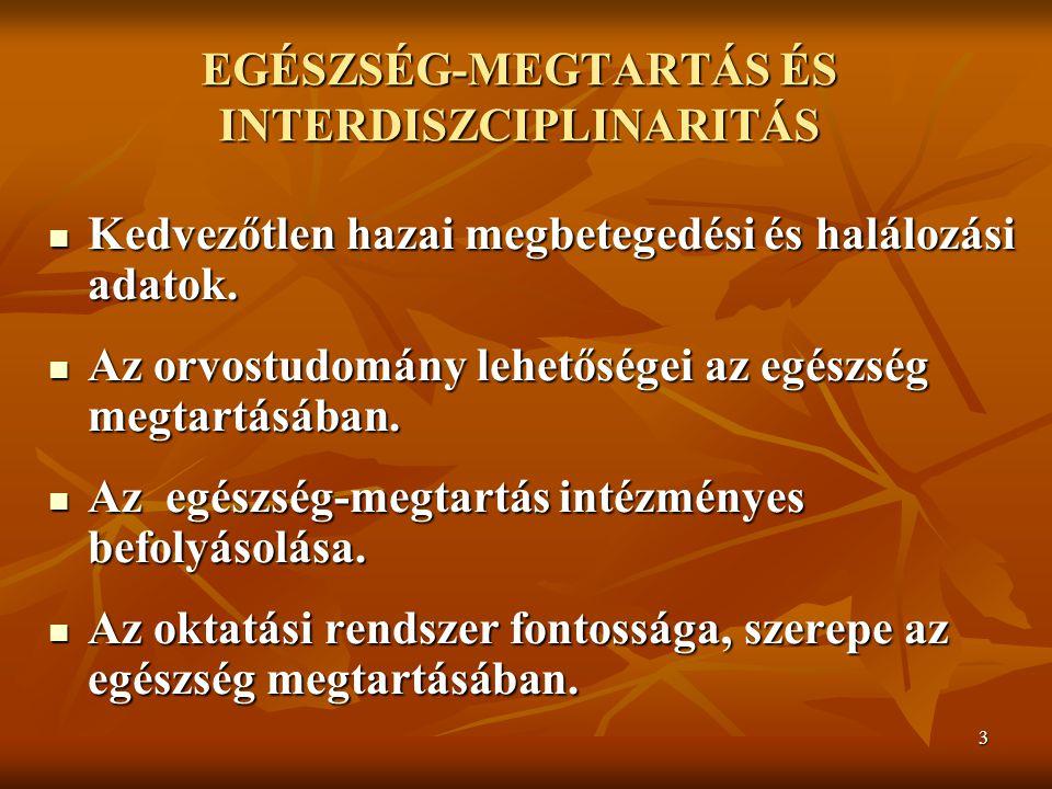 EGÉSZSÉG-MEGTARTÁS ÉS INTERDISZCIPLINARITÁS