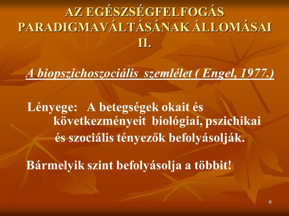 AZ EGÉSZSÉGFELFOGÁS PARADIGMAVÁLTÁSÁNAK ÁLLOMÁSAI II.