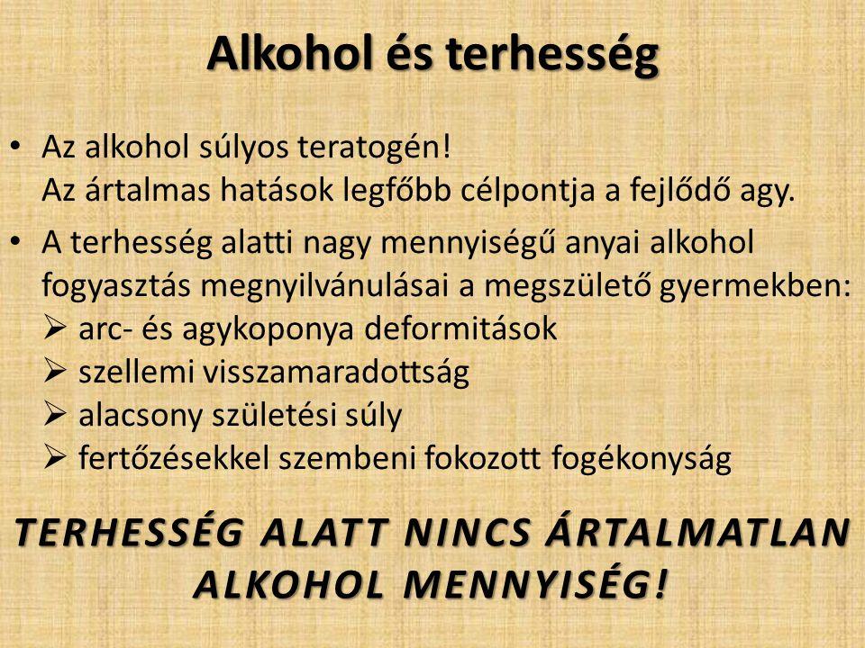 TERHESSÉG ALATT NINCS ÁRTALMATLAN ALKOHOL MENNYISÉG!