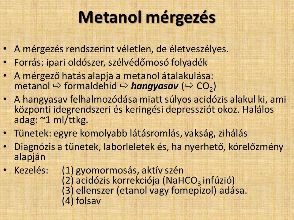 Metanol mérgezés A mérgezés rendszerint véletlen, de életveszélyes.