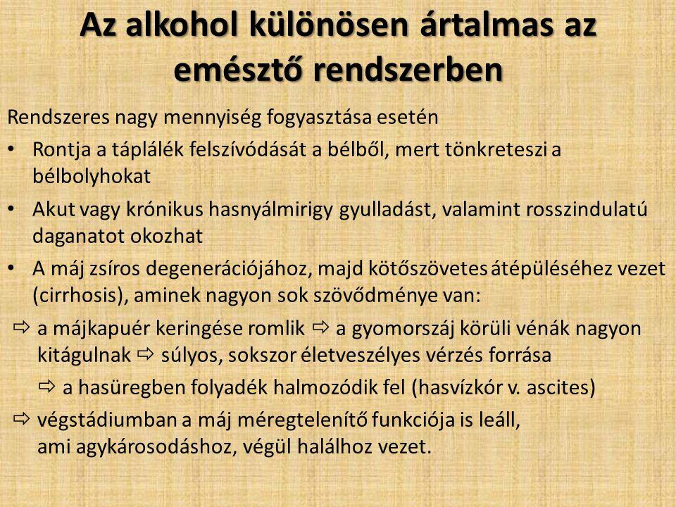 Az alkohol különösen ártalmas az emésztő rendszerben