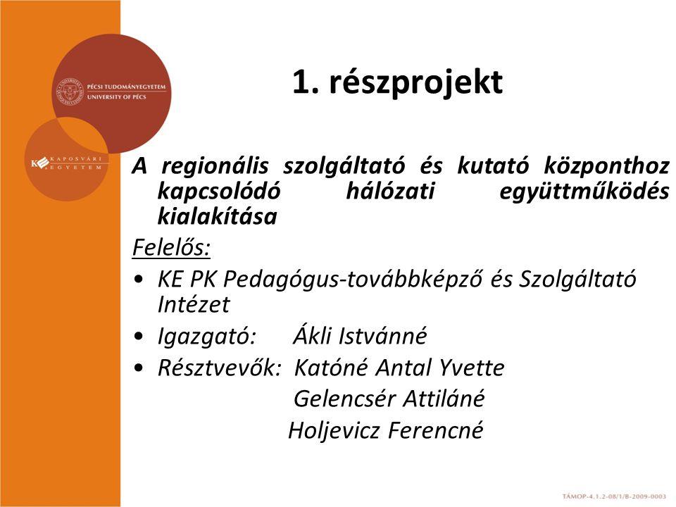 1. részprojekt A regionális szolgáltató és kutató központhoz kapcsolódó hálózati együttműködés kialakítása.