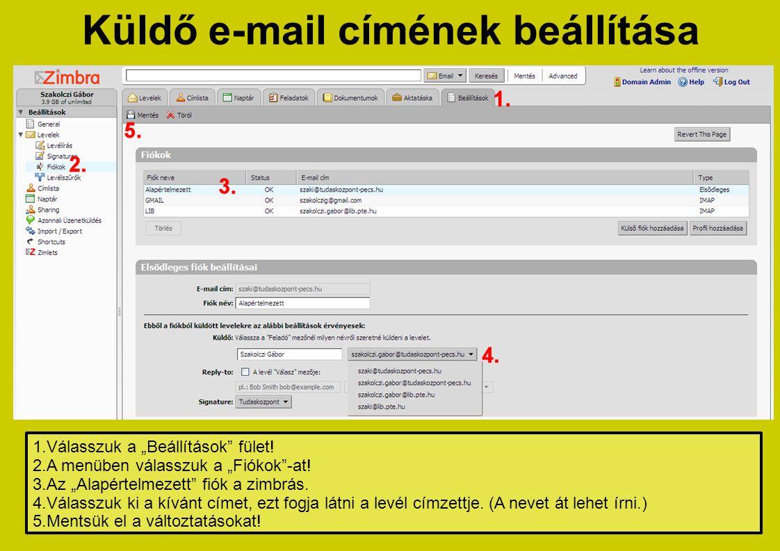 Küldő e-mail címének beállítása