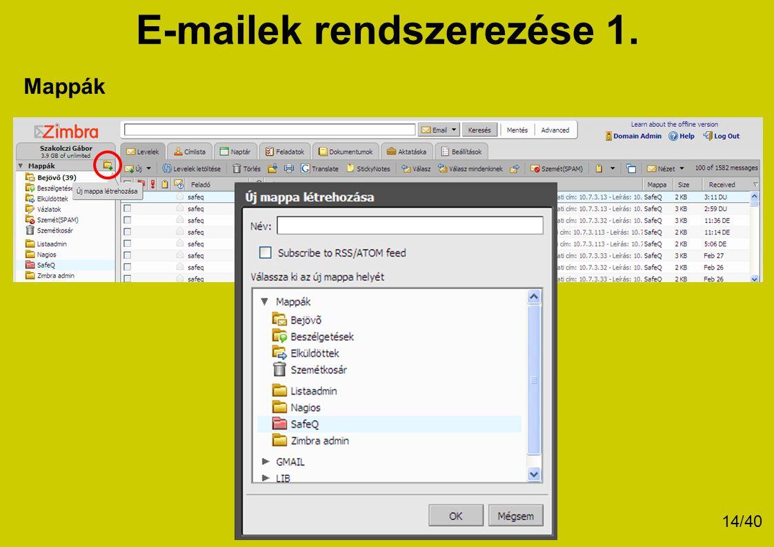 E-mailek rendszerezése 1.