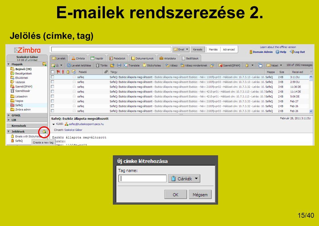 E-mailek rendszerezése 2.