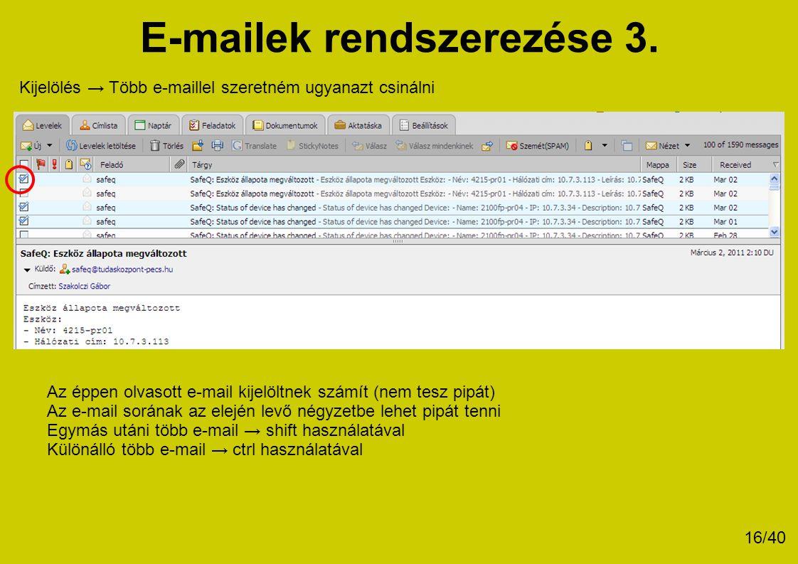 E-mailek rendszerezése 3.