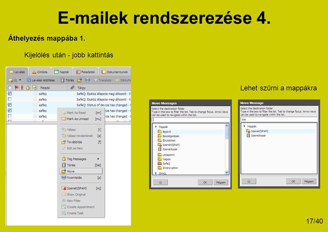 E-mailek rendszerezése 4.