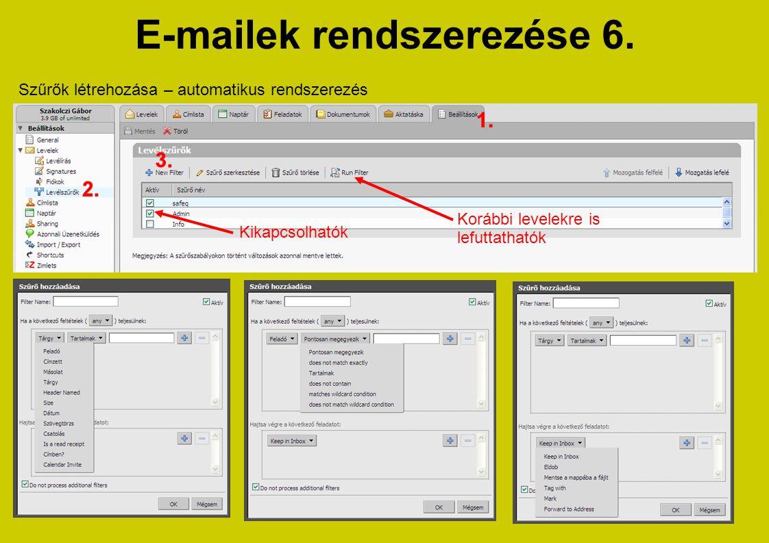 E-mailek rendszerezése 6.