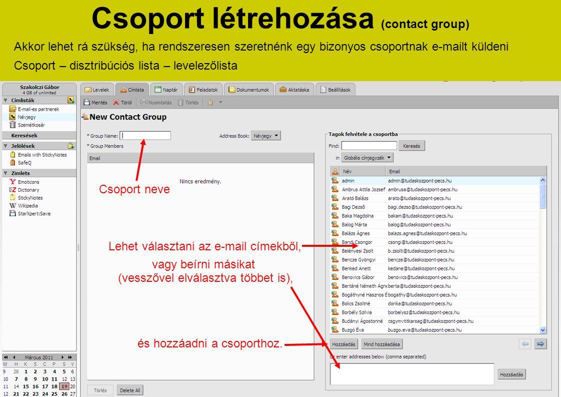 Csoport létrehozása (contact group)