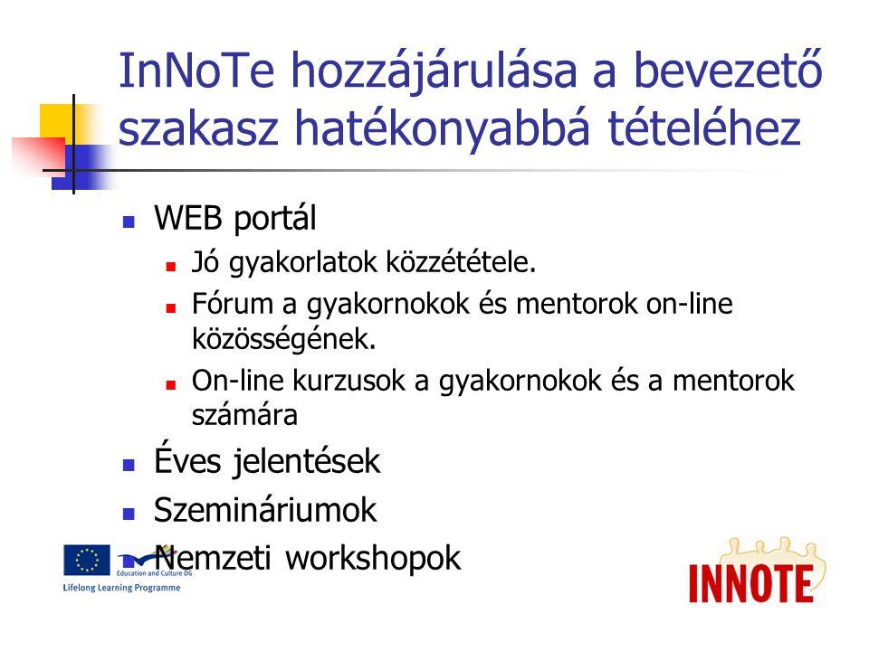 InNoTe hozzájárulása a bevezető szakasz hatékonyabbá tételéhez