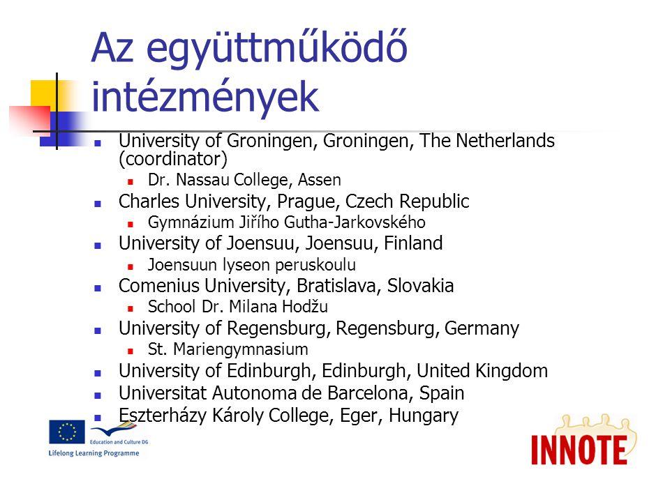 Az együttműködő intézmények