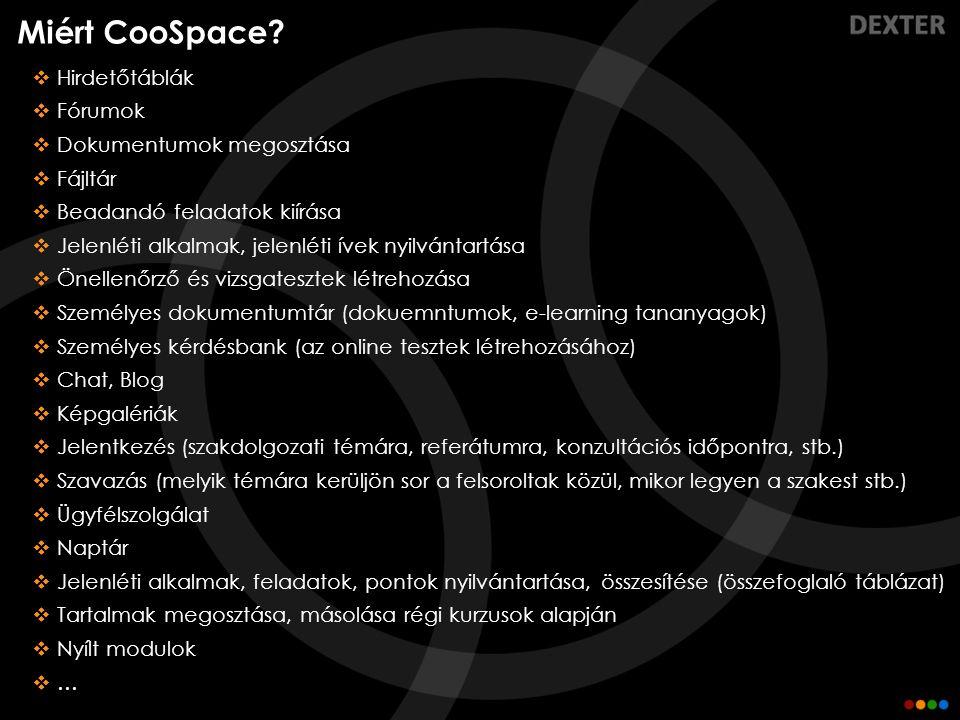 Miért CooSpace Hirdetőtáblák Fórumok Dokumentumok megosztása Fájltár